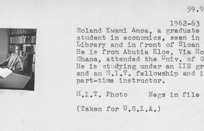 Catalog card: Roland Amoa, 1962-63