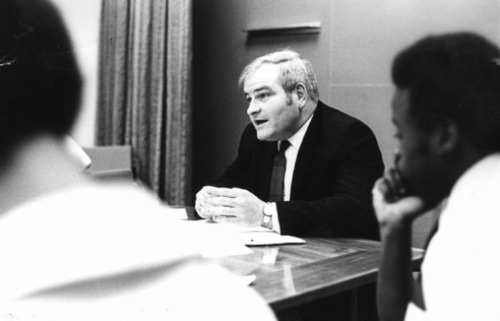 Paul Gray and students at a Task Force meeting, 1971