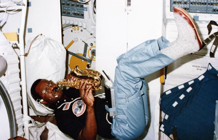 Ron McNair playing sax in space, 1984
