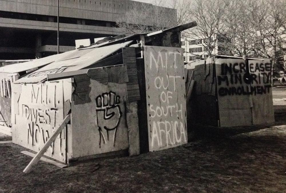 Shantytown built in protest by Coalition Against Apartheid, 1987