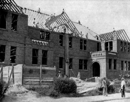 Tuskegee Institute Administration Building under construction, ca. 1901