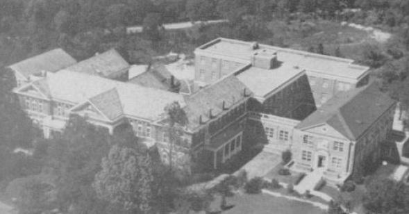 Aerial view of the John A. Andrew Memorial Hospital at Tuskegee Institute