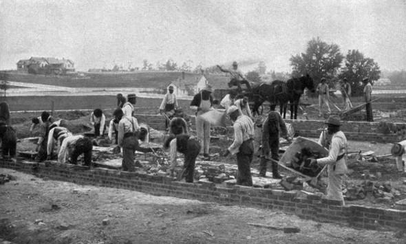 Tuskegee Institute students laying foundation for an Emery dorm