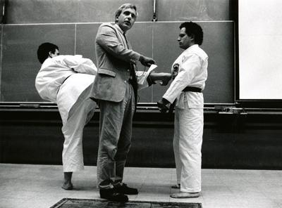 Michael Feld and sons in a physics-karate demo, 1991
